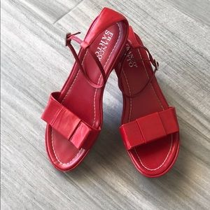 Cute Red Bow wedge Sandals